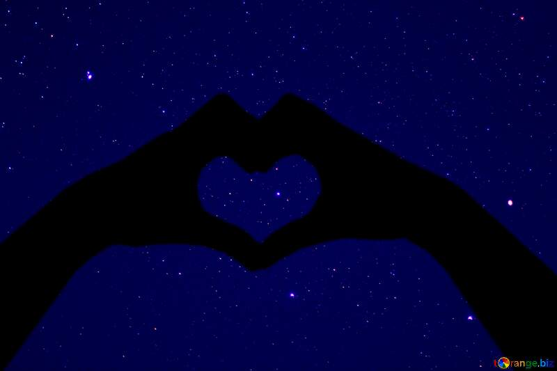 Starry sky Beloved land nature hands and heart silhouette №44732