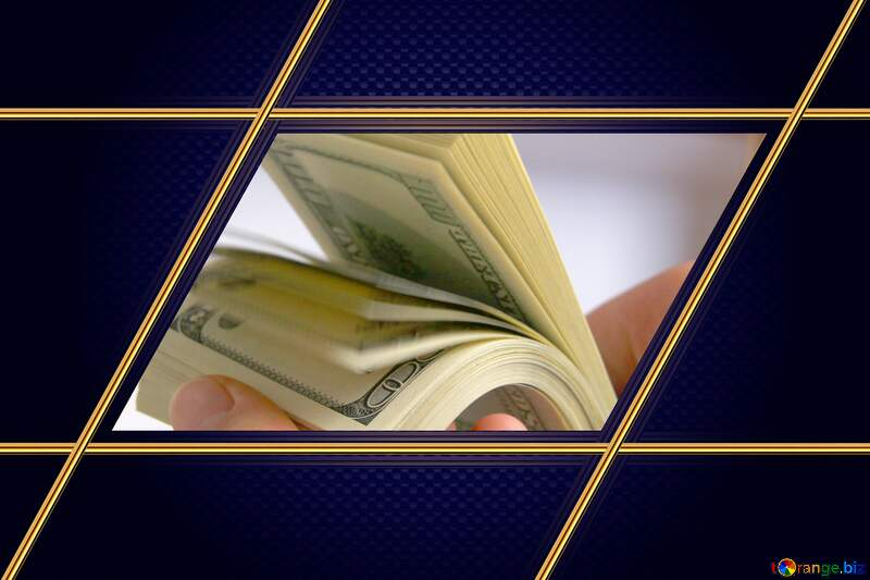 dollars in the hands Carbon gold frame hi-tech blue №1510