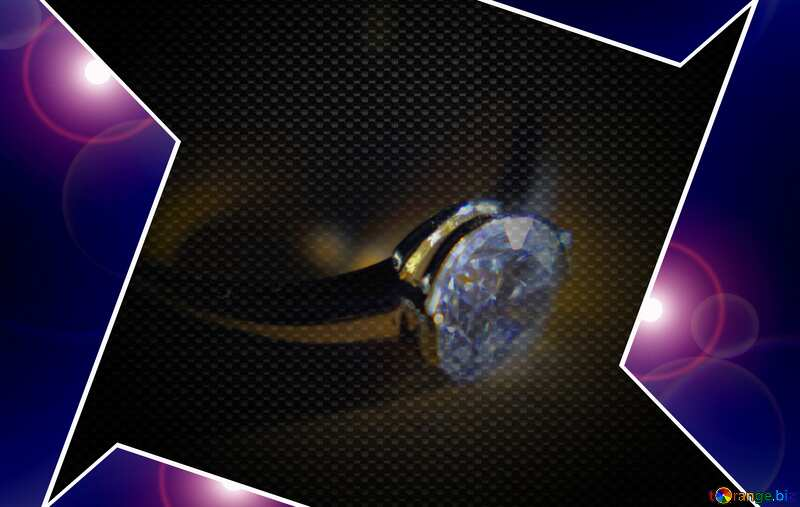 Gold diamond ring Blue carbon hi-tech template №18587