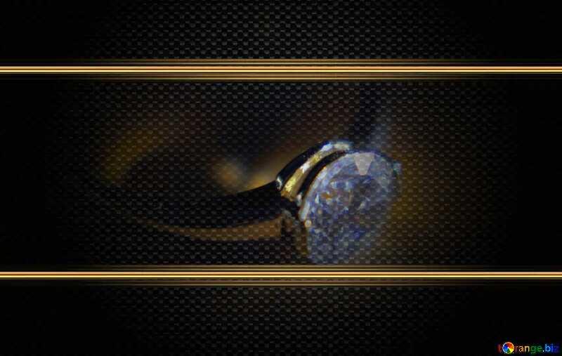 Gold diamond ring carbon gold frame №18587