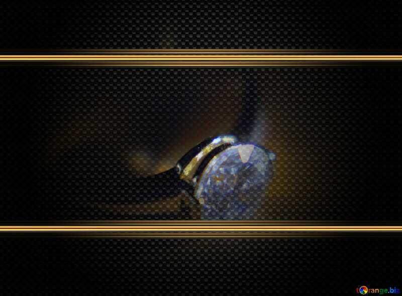 Gold diamond ring carbon frame №18587