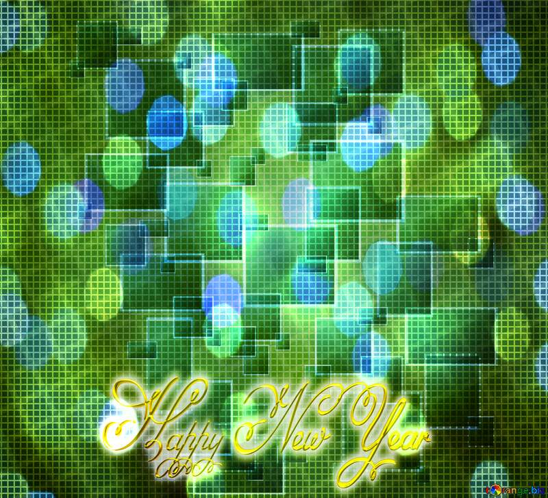 Technology background tech abstract squares Inscription text Happy New Year christmas lights bokeh №49678