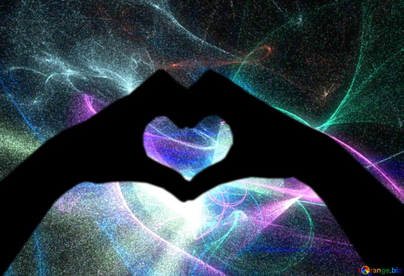 Astral hands and heart background №40631