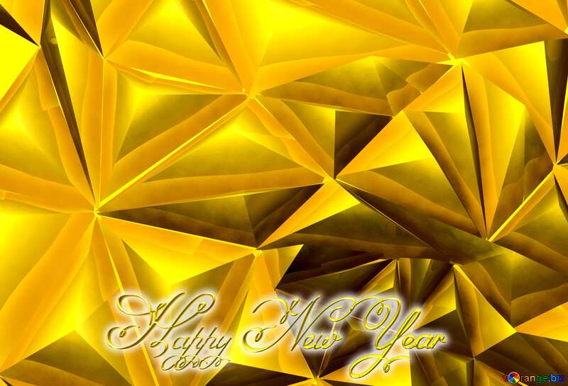 Polygon gold background text Inscription Happy New Year №51586