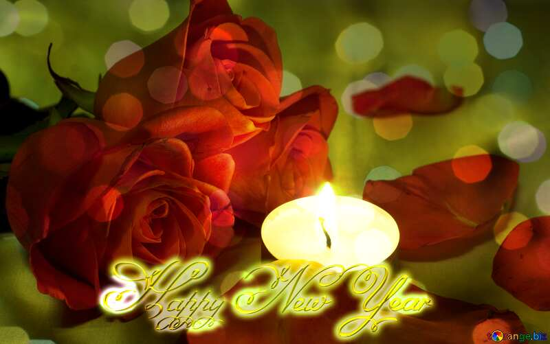 Beautiful flower and candle  Inscription text Happy New Year gold №7276