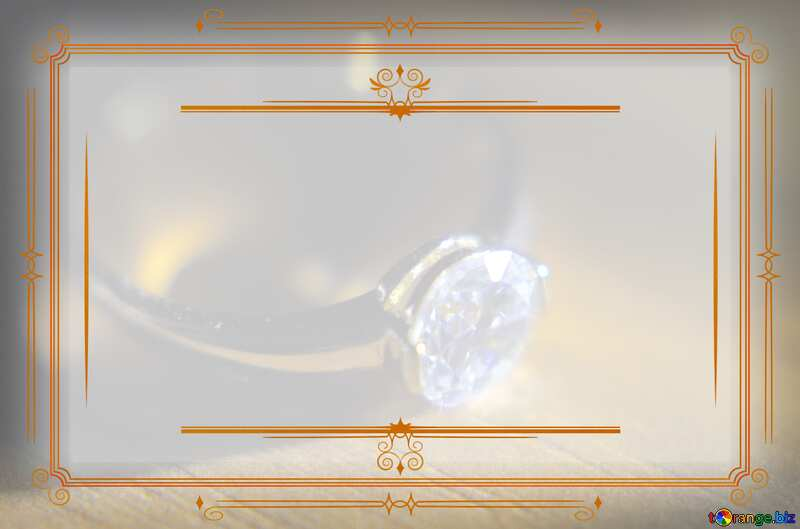 Gold diamond ring Vintage frame retro clip art template №18587