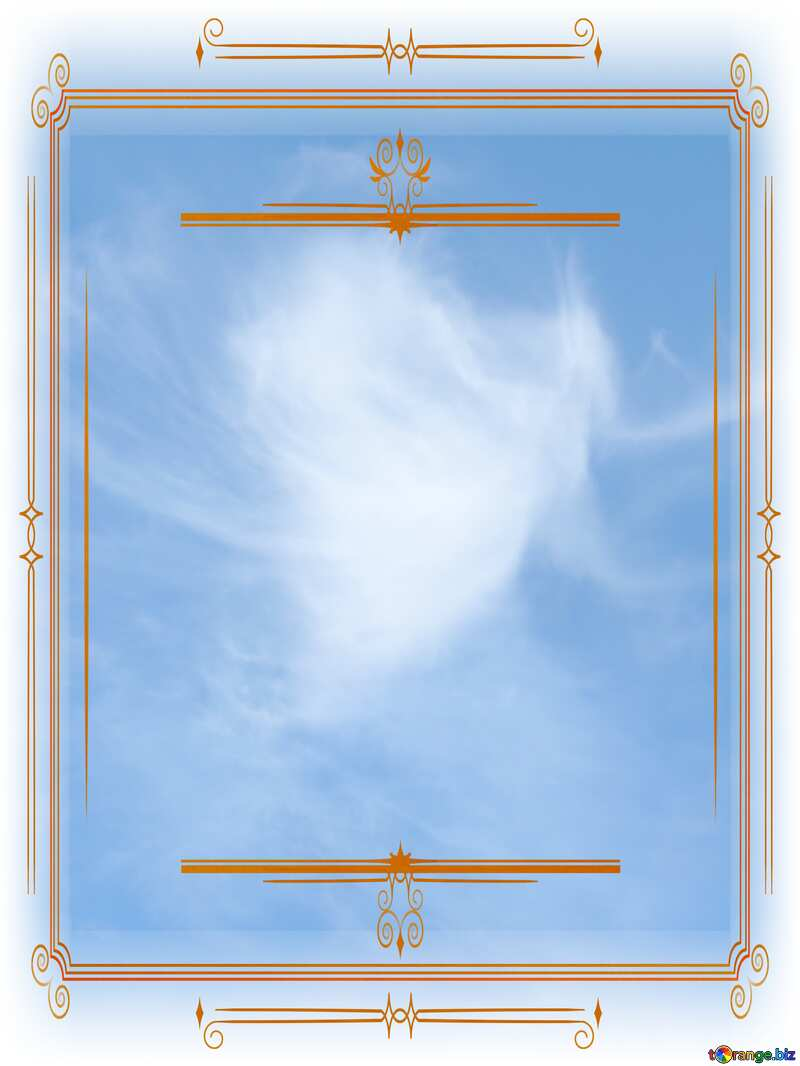Angels of heaven sky  Vintage frame retro clipart №22744