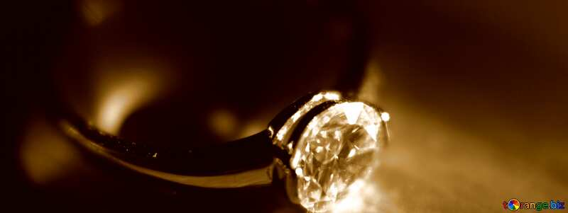 Gold diamond ring sepia №18587