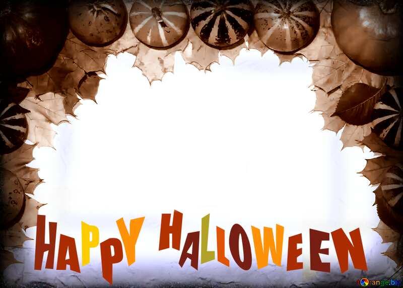 Autumn blank card template with pumpkins happy halloween №35178