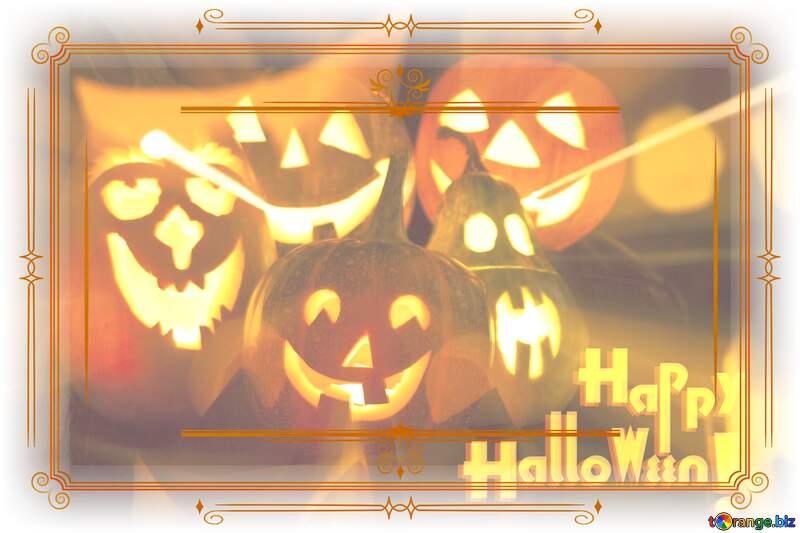 Halloween Vintage Retro Paper Lines Frame №5934
