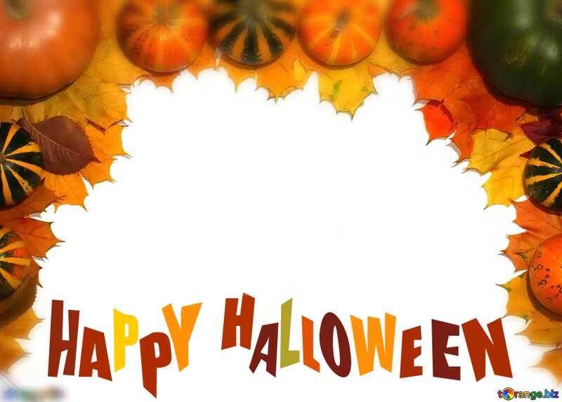 Autumn blank card template with pumpkins blurring happy halloween №35178