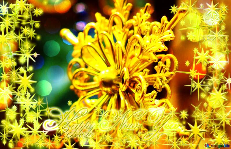 a golden snowflake Christmas ornament star Frame gold Happy New Year stars 3d №52790