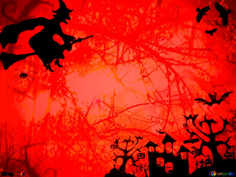 Halloween spooky forest red  background №40580