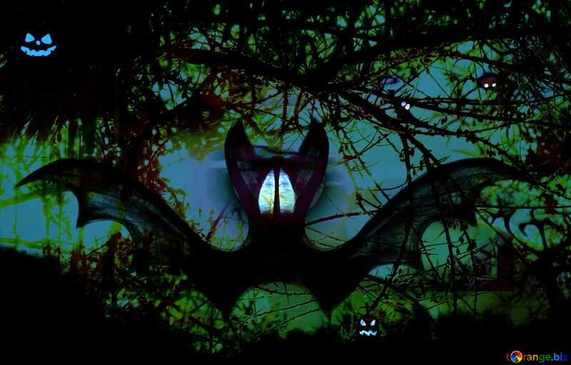 Halloween bat  forest №40467
