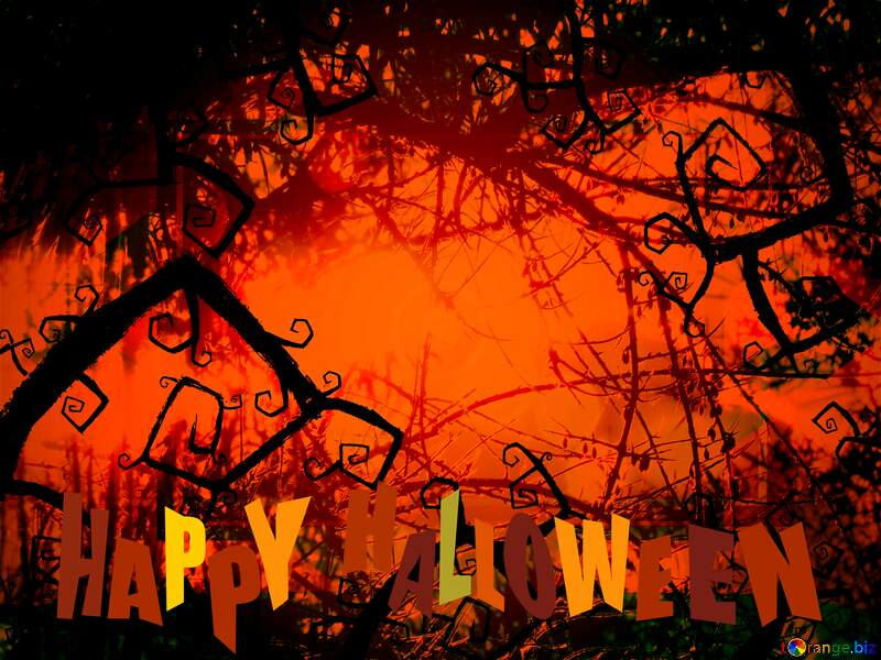 Beautiful Halloween Spooky forest background №40591