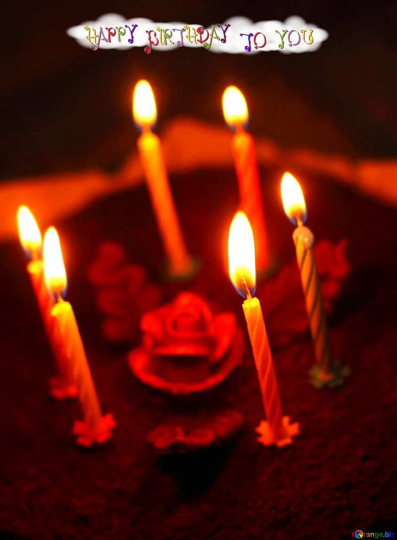 Cake with candles  happy birthday text №27009