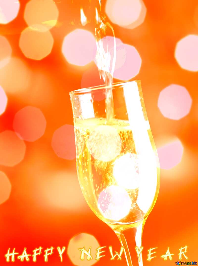 Champagne Bokeh background card text happy new year №25750