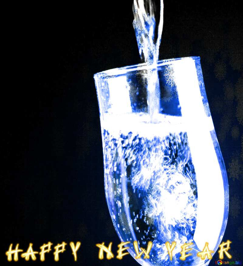 Blue  Champagne card happy new year №25750