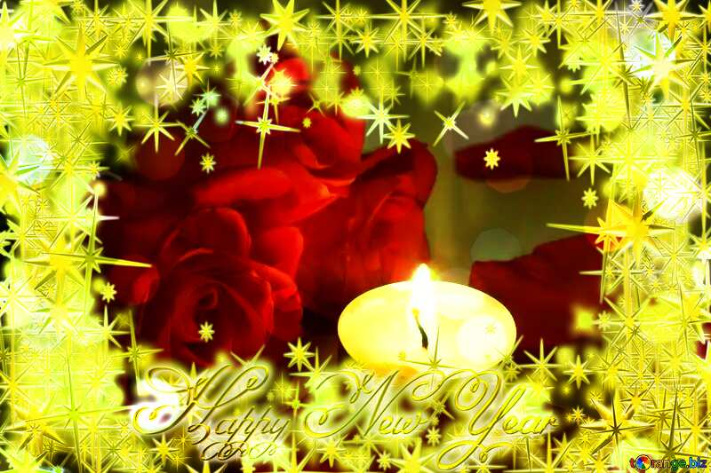Romantic rose candle Frame Happy New Year bokeh №7276
