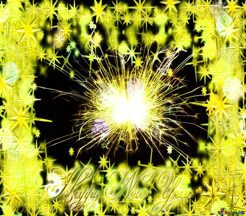 Bright sparks Frame Happy New Year 3d gold stars №25682