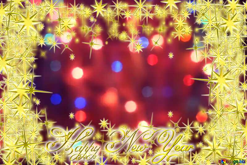 Bright background for Christmas 3d gold stars Frame Happy New Year text №24606