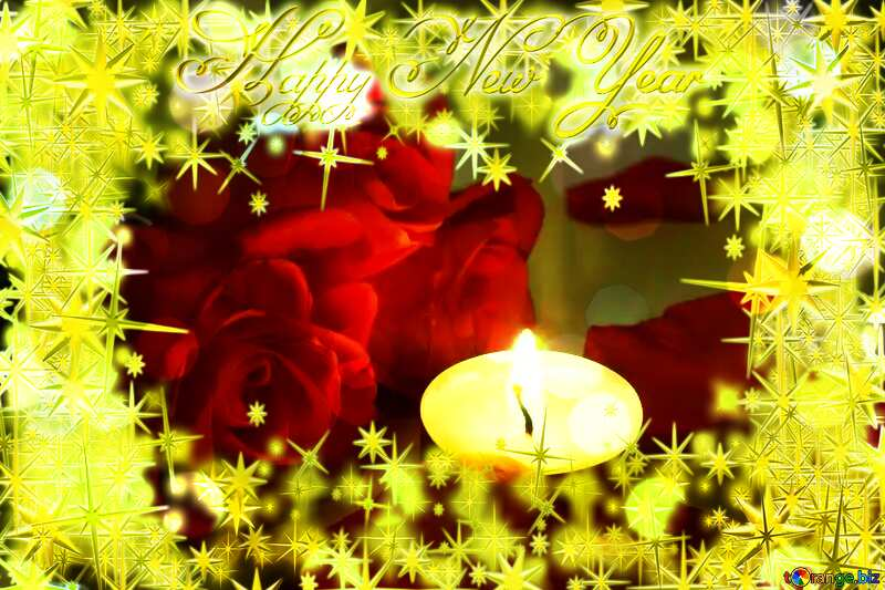 Romantic rose candle  Frame Happy New Year 3d gold stars №7276