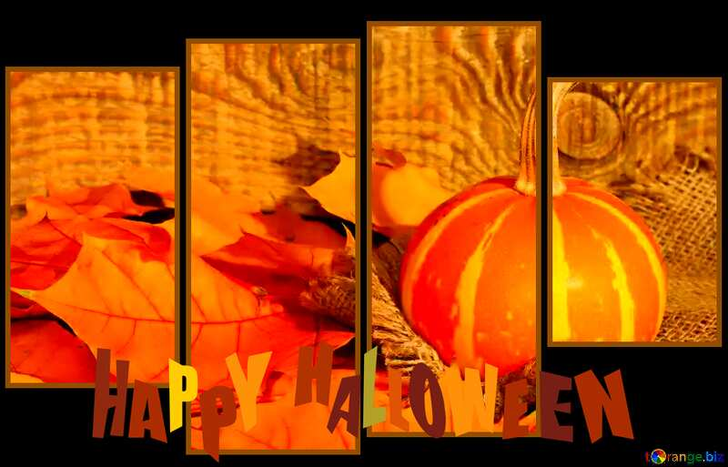 Beautiful picture with pumpkin and autumn leaves modular background happy halloween №35453