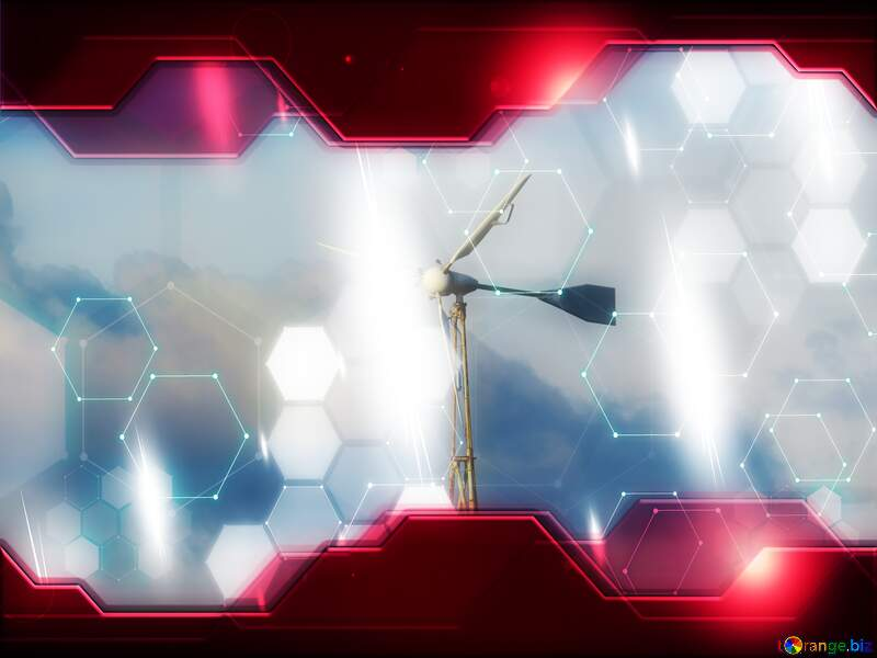 Wind energy Technology business concept Hi-tech Elements red background №36450