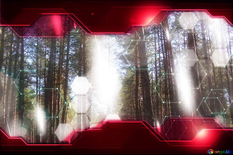 Forest Technology business concept Hi-tech Elements red background №2143