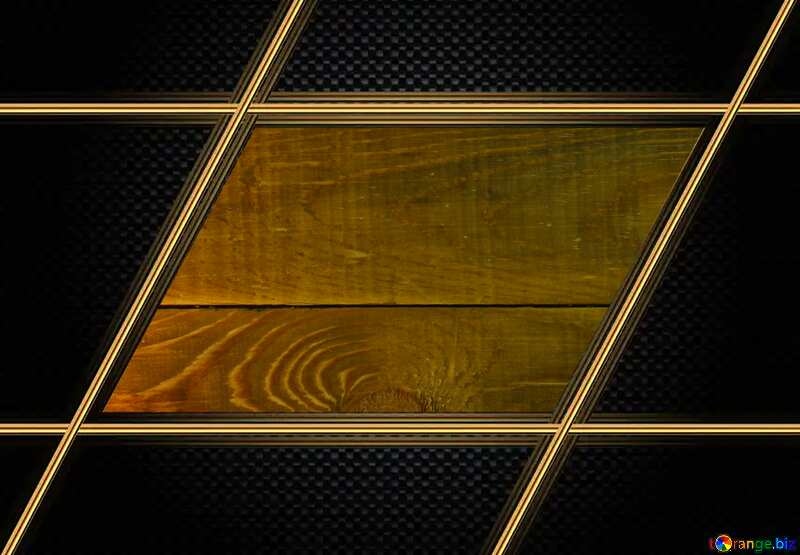 wooden background Carbon gold lines frame template №37894