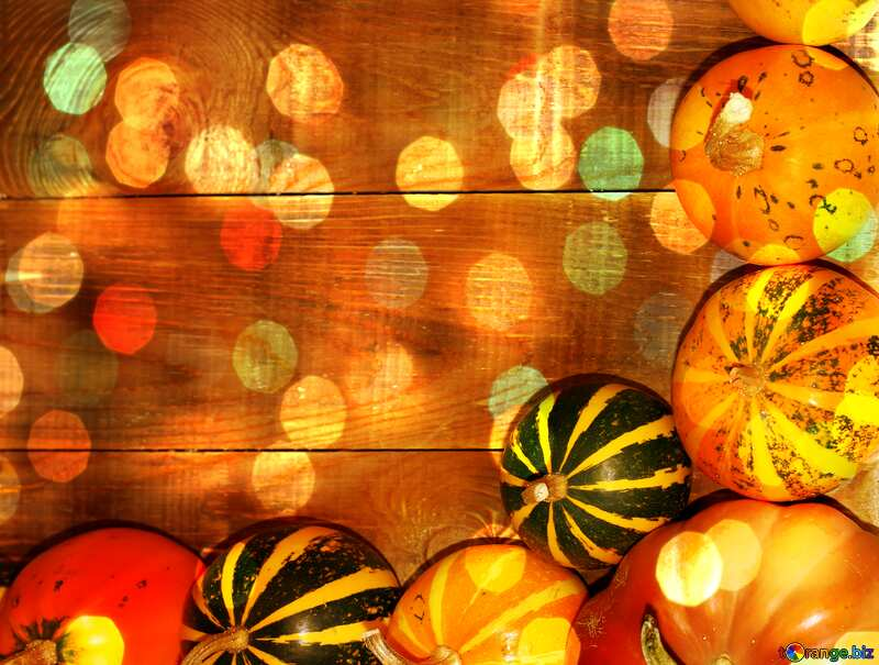 Autumn bokeh background with pumpkins №35213
