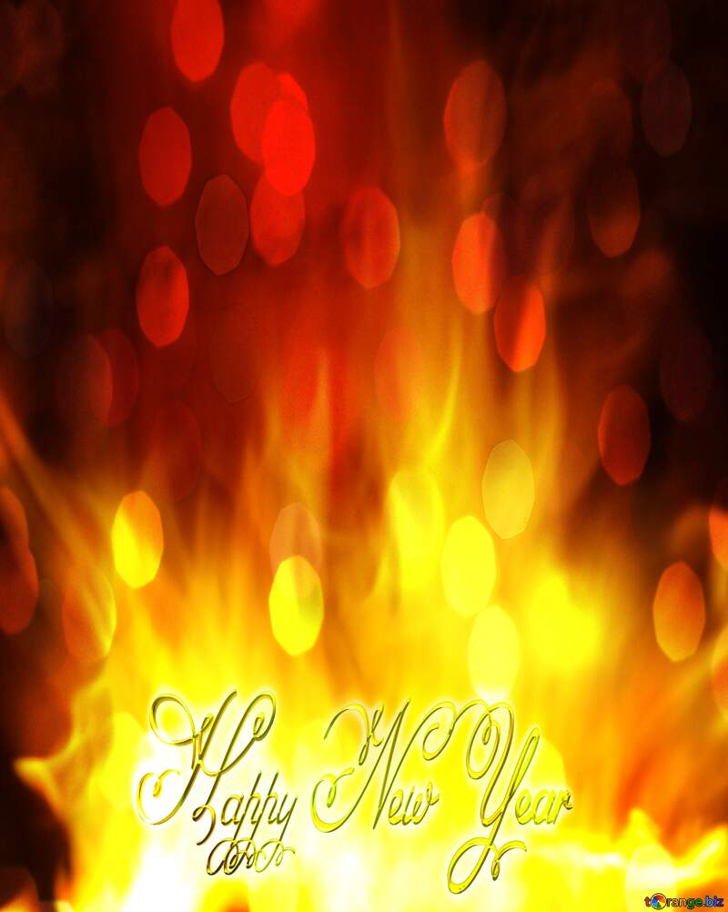 Happy New Year gold Fire Background. №9546