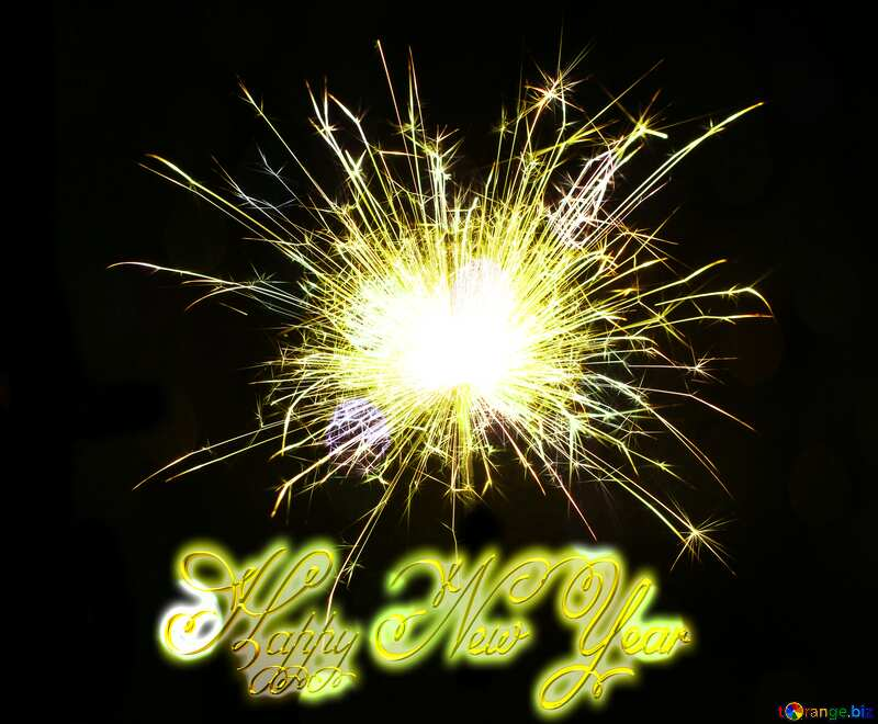 Bright sparks text Happy New Year 3d gold №25682