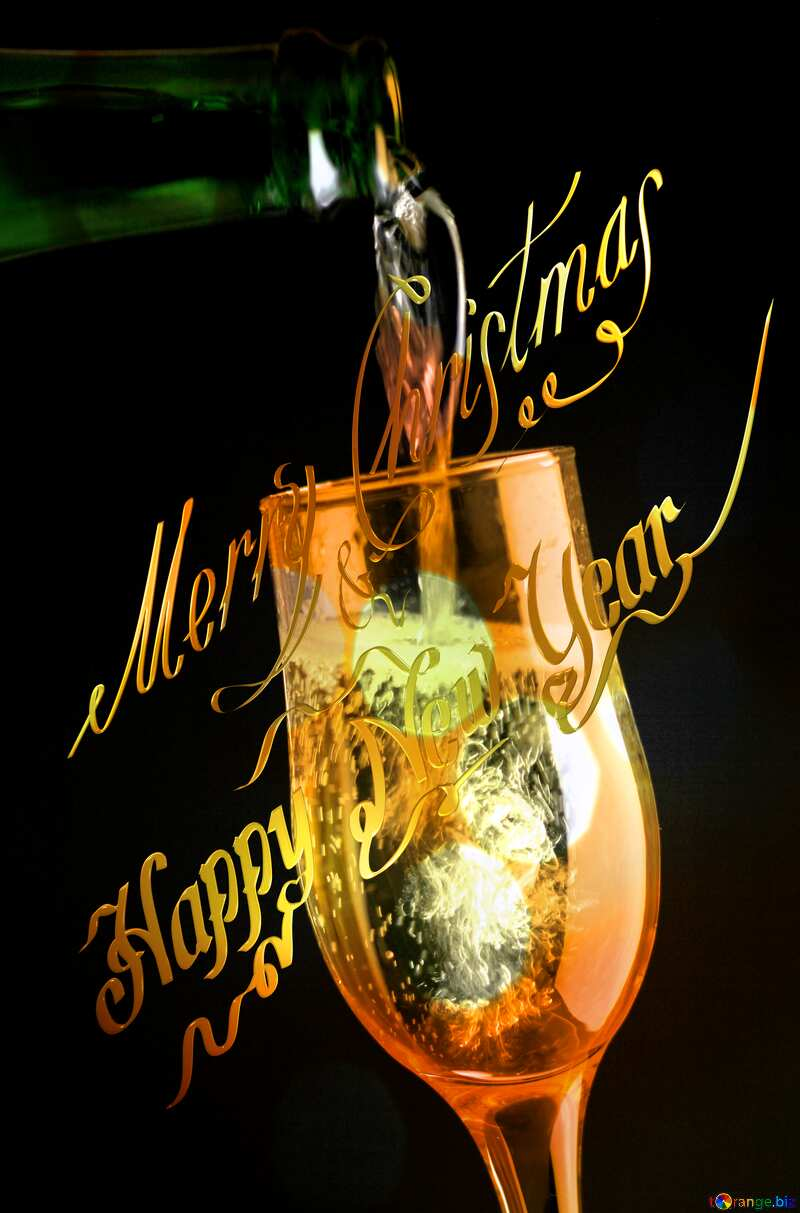 Champagne merry Christmas and happy new year gold №25750