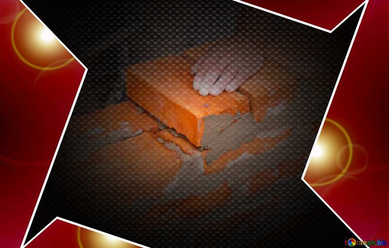 Brick laying hi-tech template Red carbon №2880