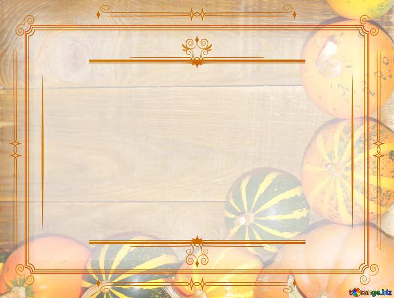 Autumn background with pumpkins Vintage frame retro clip art №35213