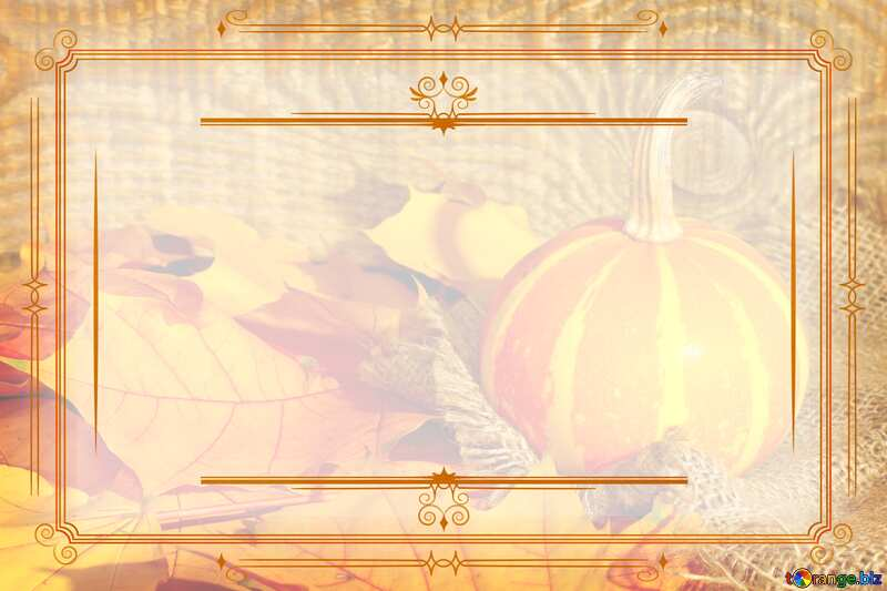 Beautiful picture with pumpkin and autumn leaves happy Halloween  Vintage frame retro clip art №35453
