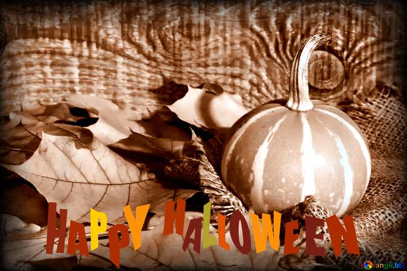 Beautiful picture with pumpkin and autumn leaves sepia toned dark frame happy halloween №35453