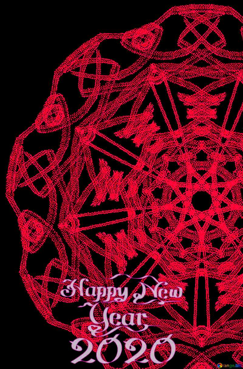 Complicated ornament happy new year 2020 red №40299