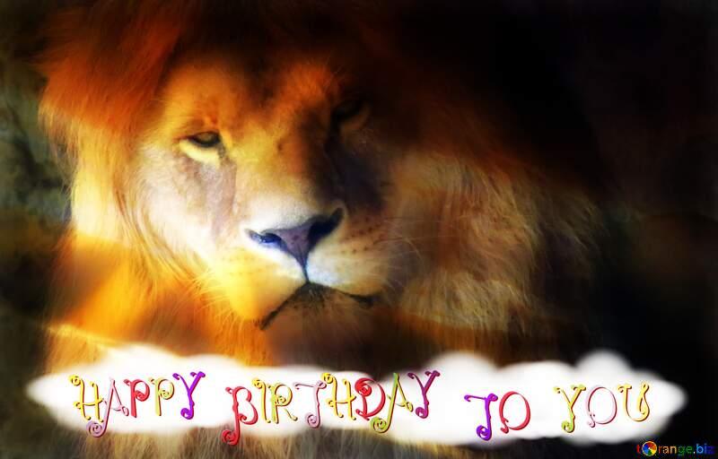 A lion happy birthday card №44974