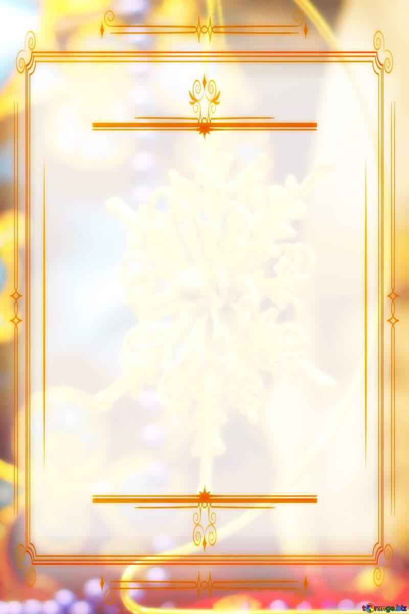 a golden snowflake Christmas ornament star Vintage frame retro №52790