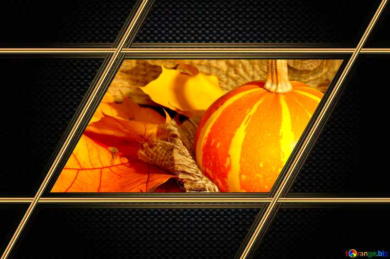 Beautiful picture with pumpkin and autumn leaves Carbon gold lines frame №35453