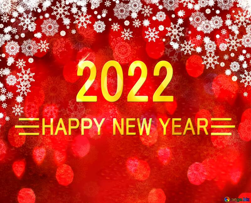 Red Christmas background Shiny happy new year 2022 gold №40659