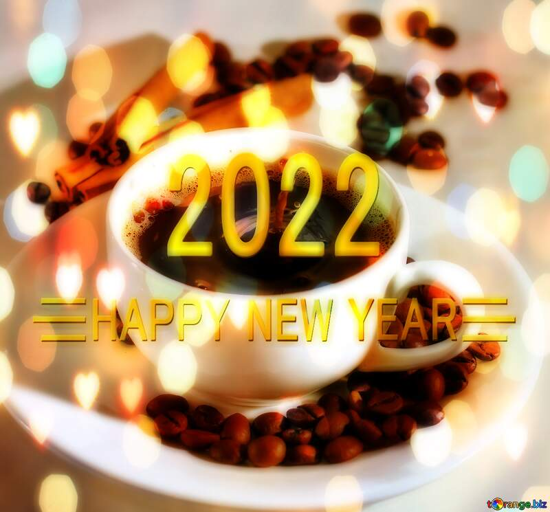 Cup of coffee Shiny happy new year 2021 background gold bokeh hearts №30851