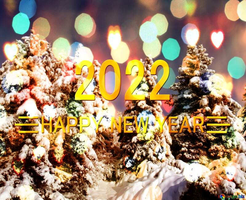 Pine Tree Forest Snow  sun  Shiny happy new year 2022 background №10576
