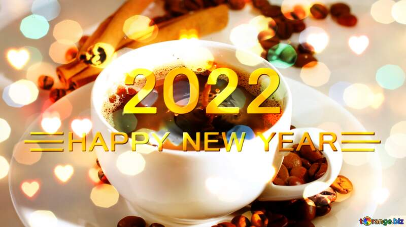 Cup of coffee happy new year 2021 background №30851