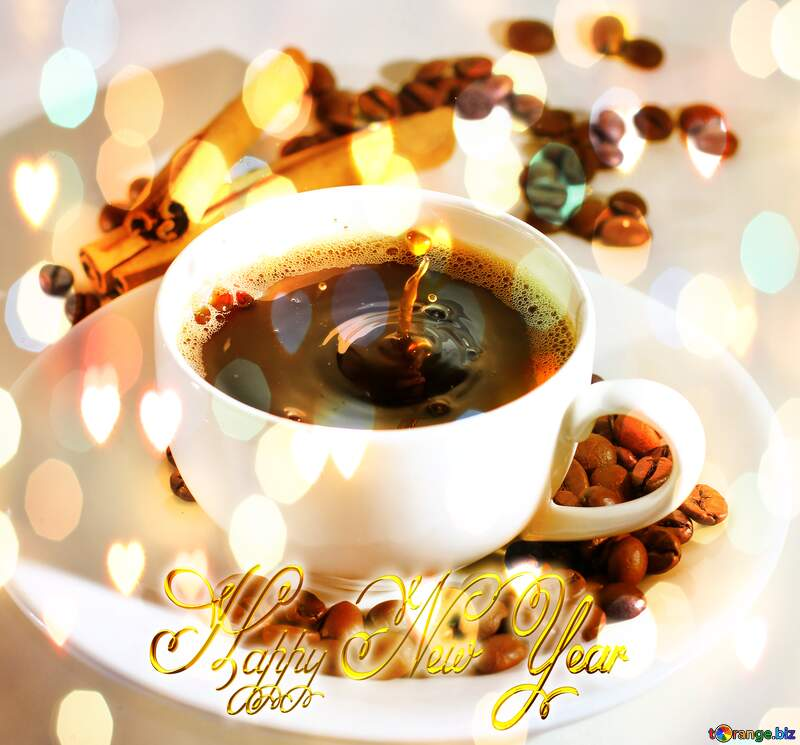 Cup of coffee Happy New Year 3d gold №30851