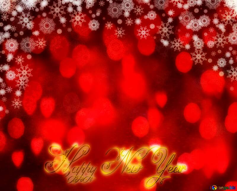 Red Christmas background Inscription text Happy New Year 3d gold bokeh №40659