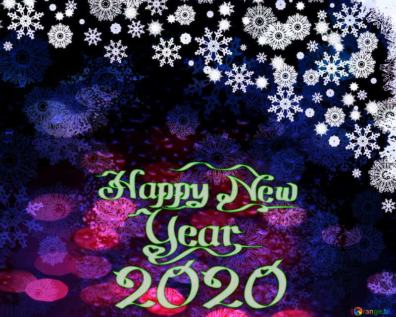 happy new year 2020 Christmas background blue yellow text №40659
