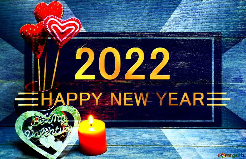 Love background with candles happy new year 2022 gold layout business №49216